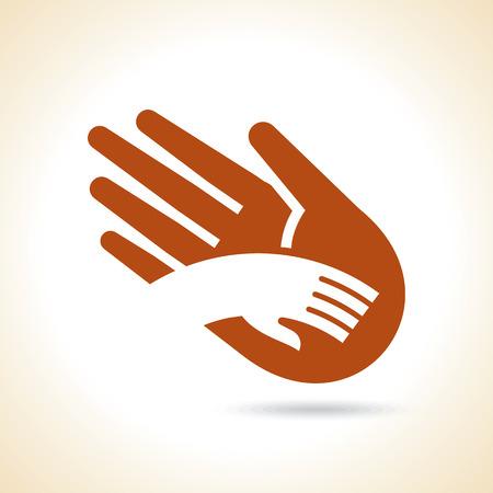 Teamwork symbol. brown hands
