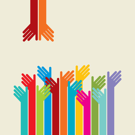 Teamwork symbol. Multicolored hands Stock Illustratie