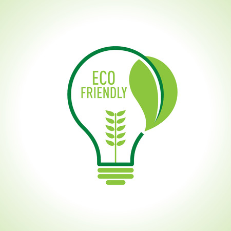 care: Ecology Think green bulb vector illustration.