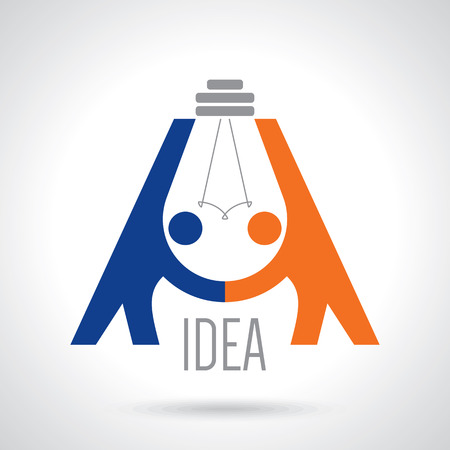 Creatief concept zwart-wit pictogram handdruk. achtergrond voor zaken en financiën. idee, het team, de beste deal, teame werk. Platte vector design Stockfoto - 42932102