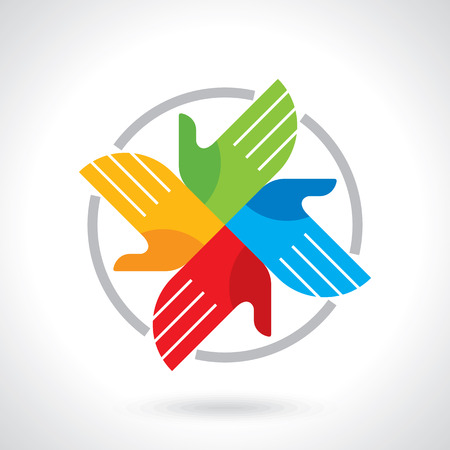 hands raised: Teamwork symbol. Multicolored hands Illustration