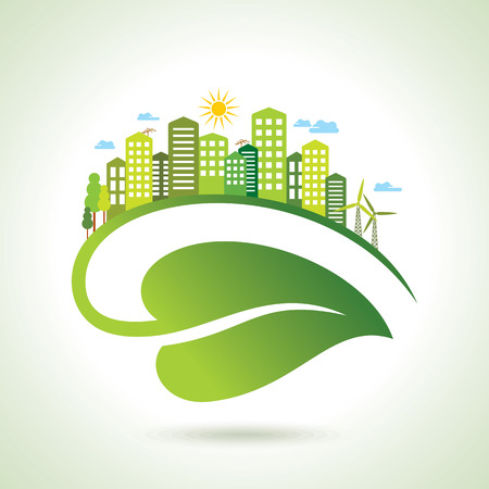 green building: Illustration of ecology concept - save nature Illustration