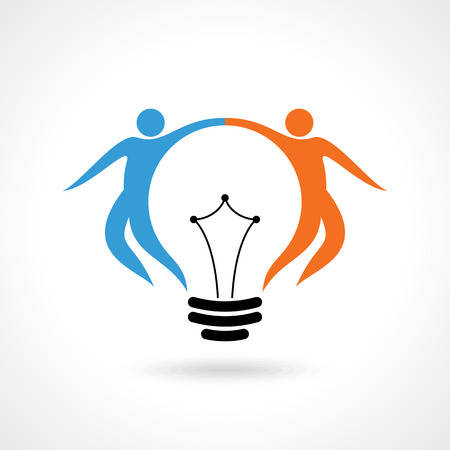 business innovation: vector icon of happy people  light bulb