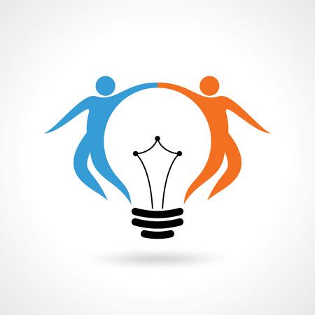 happy people: vector icon of happy people  light bulb