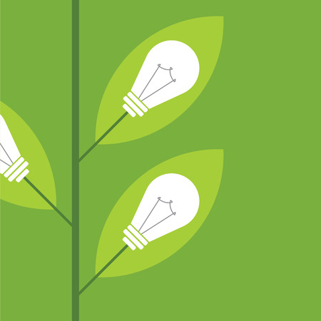 creative idea: Ecology Think green bulb tree vector illustration