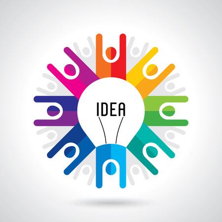 teamwork concept: Teamwork management concept. Hand keep bulb. Vector background.