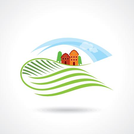 villas: House Logo design vector template. Organic Natural Farm Logotype. Eco green nature village concept icon.