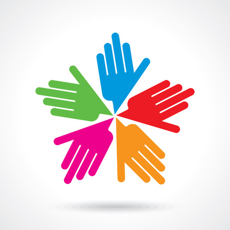 Teamwork symbol. Multicolored hands Иллюстрация