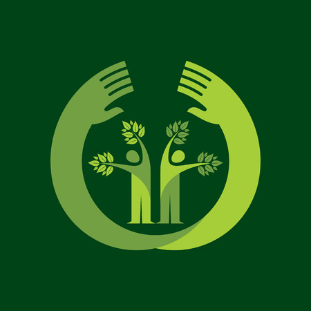 human hand  tree icon with green leaves - eco concept vector. Illustration