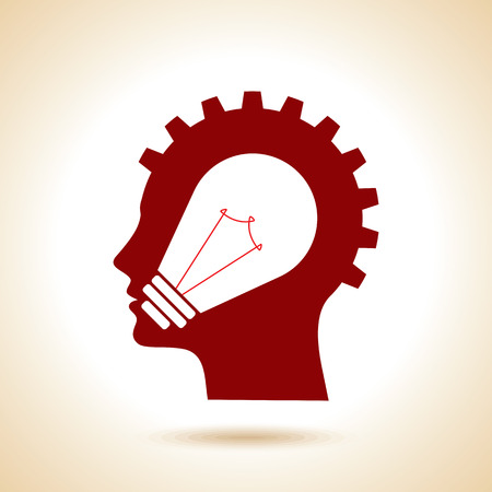 consensus: silhouette of the head, brain, process of human thinking.