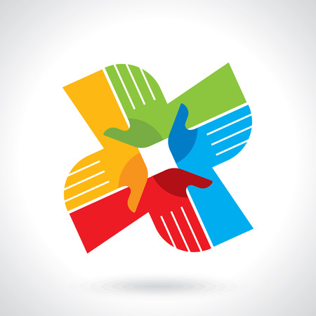 join: Teamwork symbol. Multicolored hands Illustration