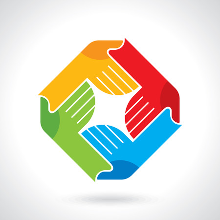 strong partnership: Teamwork symbol. Multicolored hands Illustration