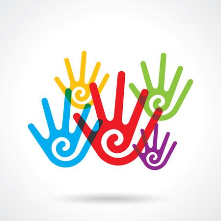 participation: Teamwork symbol. Multicolored hands Illustration