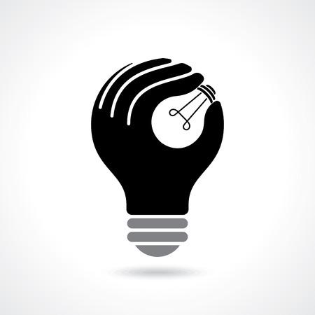 reflexionando: llegar a la idea con la mano humana Vectores