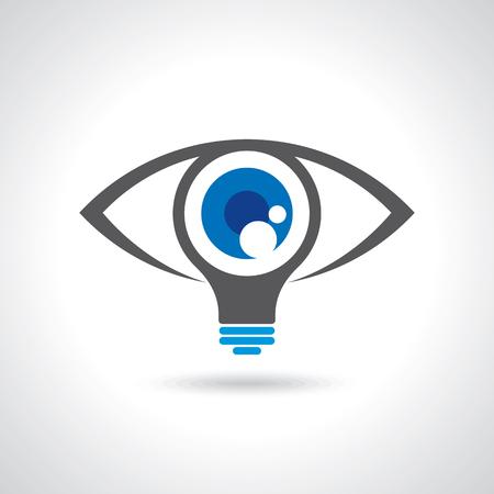 visión e ideas muestra, icono ojo, la luz símbolo bombilla, ilustración Concepto de negocio