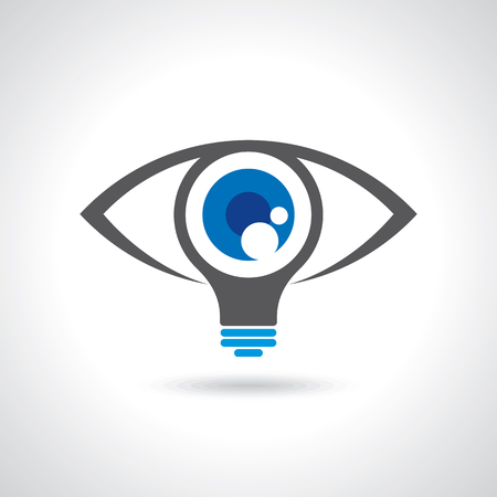 vision: vision and ideas sign,eye icon,light bulb symbol ,business concept.vector illustration