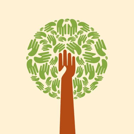 Isolated diversity tree hands illustration.