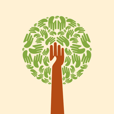 pray: Isolated diversity tree hands illustration.