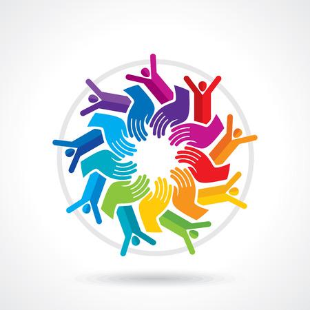 la union hace la fuerza: Trabajo en equipo concepto grupo de personas sosteniendo. Vectores