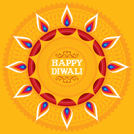 india pattern: Vector design for Deepawali festival.