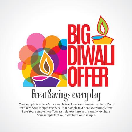 ünneplés: Eladó bevásárló háttér és a címke Diwali fesztivál Illusztráció