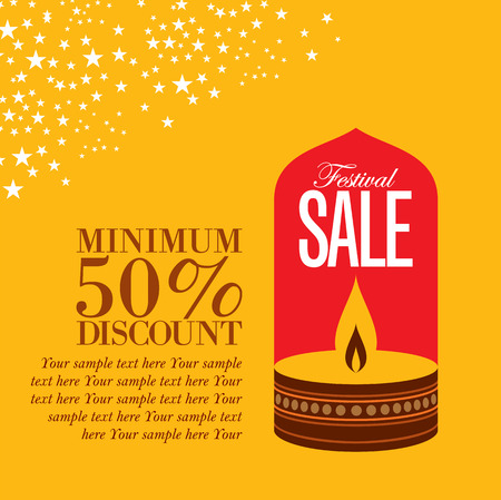 greeting card: sale shopping background and label for Diwali festival