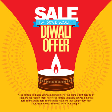 traditional festival: sale shopping background and label for Diwali festival