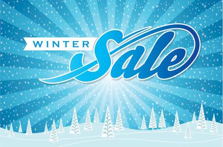 diciembre: diseño de la venta de invierno en color azul para la promoción empresarial