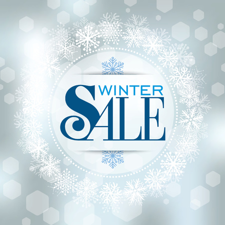 december: Winter sale design in blue color for business promotion