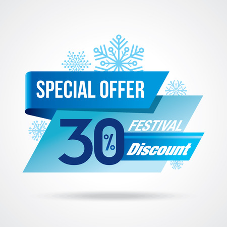 christmas promotion: Winter sale design in blue color for business promotion
