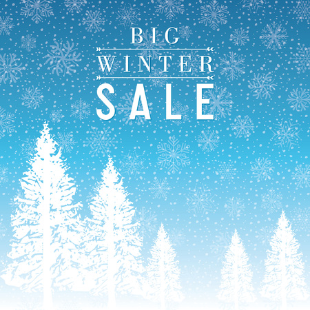 financial year: Winter sale design with snowflakes blue background