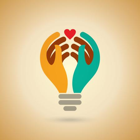 human hand: Human hand with idea light bulb. health care Concept design.