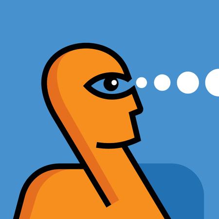 cliff edge: businessman looking through, concept vector Illustration