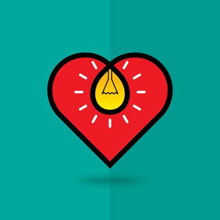 Concept Heart shape and light bulb. Illustration