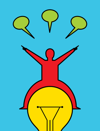 reaching idea businessman, Creative concept Illustration