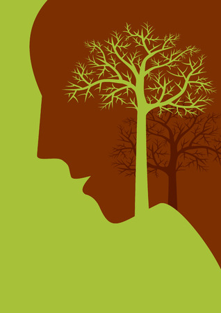 environmental conversation: thinking save tree, creative concept