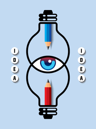 back view student: Creative design with eye, idea bulb and pencil