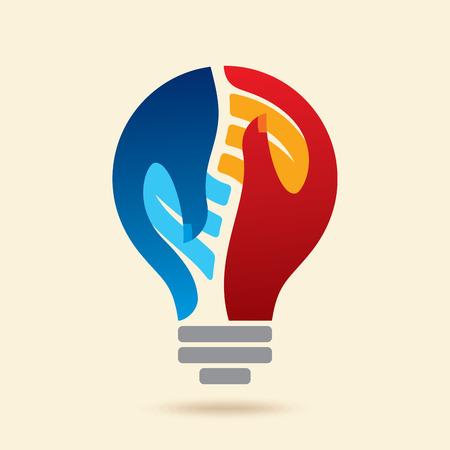 manos logo: el concepto de idea creativa el trabajo en equipo