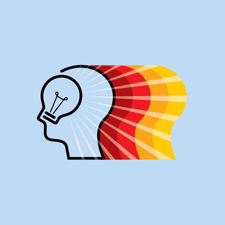 Bright idea form human head, thinking about success solution. Illustration