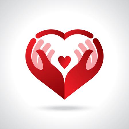 Ícone de bondade e caridade, mãos e coração.