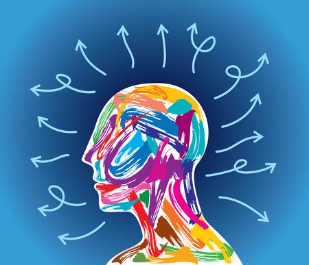 human head thinking. making from brush stocks Ilustrace