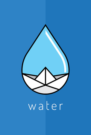 paper boat: Paper boat in blue water drop, vector