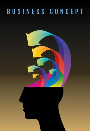 mente humana: Los pensamientos y las opciones. ilustración vectorial de la cabeza con flechas.