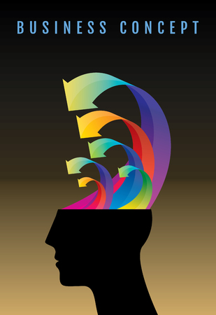 unsolvable: Thoughts and options. vector illustration of head with arrows.