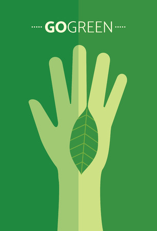 green plants: ecological symbols and signs,humans hands and green growing plants & leafs Illustration