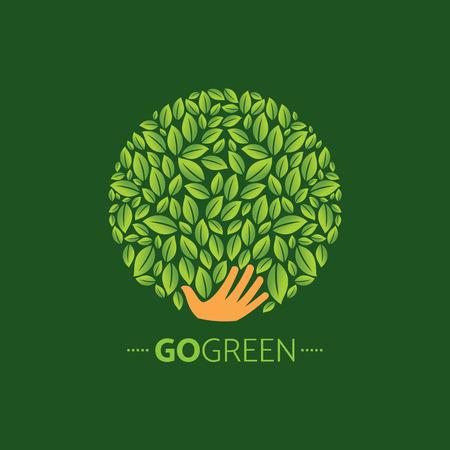 símbolos ecológicos y señales, las manos de humanos y plantas verdes y las hojas que crecen Ilustración de vector