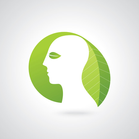reflexion: think green save earth concept Illustration