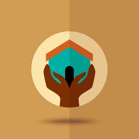 Hand holding house. Vector Illustration