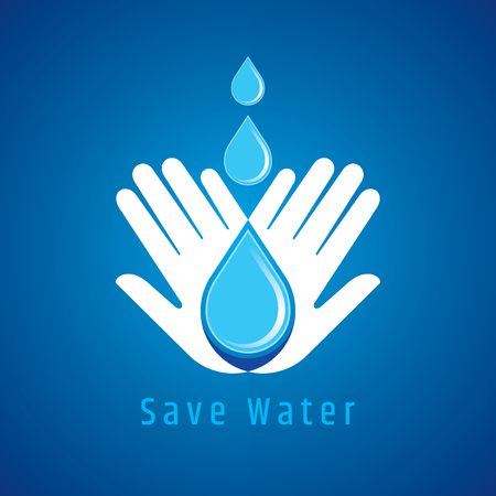 wet: Save water concept, Hand holds water drop. Illustration