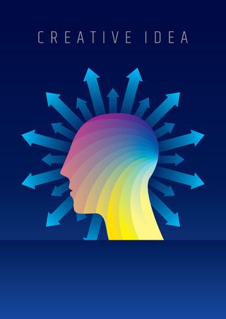 Gedachten en opties. vector illustratie van het hoofd met pijlen.